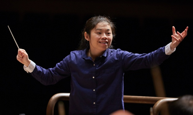 Donatella Flick 2014 conducting competition winner Elim Chan. Photograph: Clive Totman/LSO